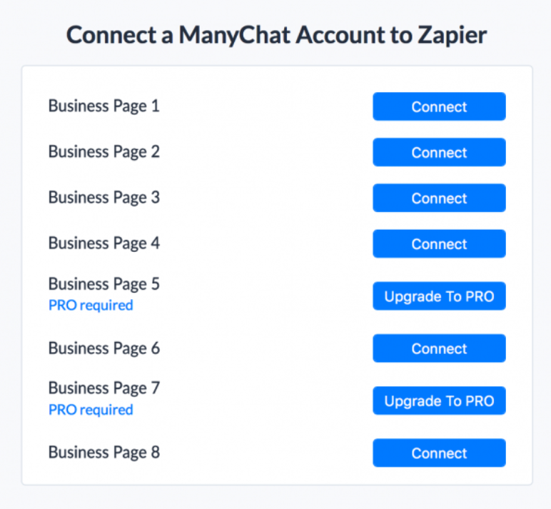 manychat connect zapier