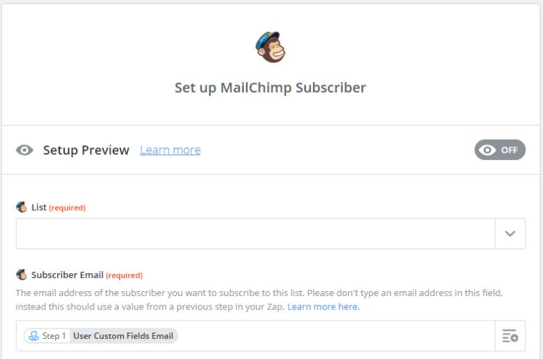 zapier mailchimp subscriber